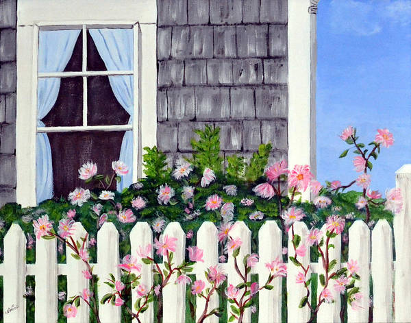 Cottage Poster featuring the painting Rose Cottage by Nancy Sisco