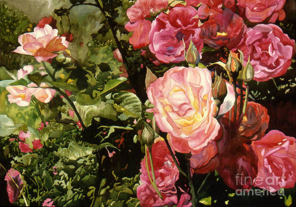 Watercolor Poster featuring the painting Rose Garden by Teri Starkweather