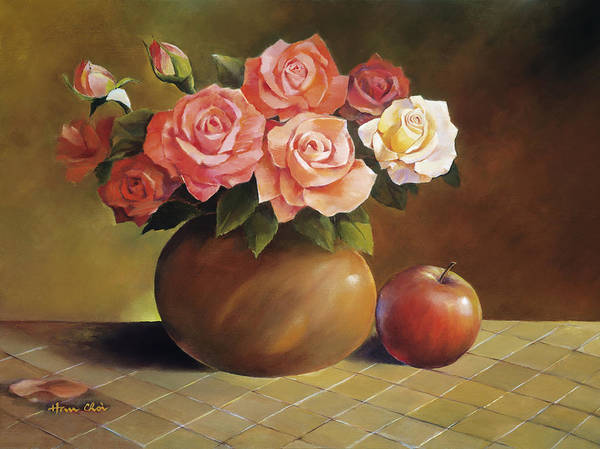 Apple Poster featuring the painting Roses And Apple by Han Choi - Printscapes