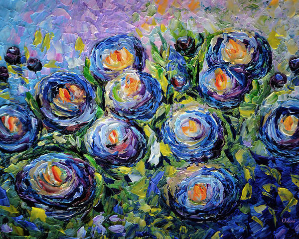 Blue Roses Poster featuring the painting Roses Are Blue by OLena Art Brand