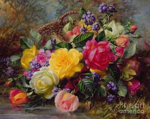 Rose; Flower; Reflection; Flowers; Pink; Yellow; White; Roses; Basket; Water; Grass; Grassy; Grassy Bank; Pond Poster featuring the painting Roses By A Pond On A Grassy Bank by Albert Williams