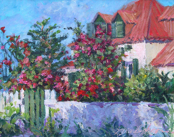 Island Cottage With White Fence Poster featuring the painting Rose's Cottage by L Diane Johnson