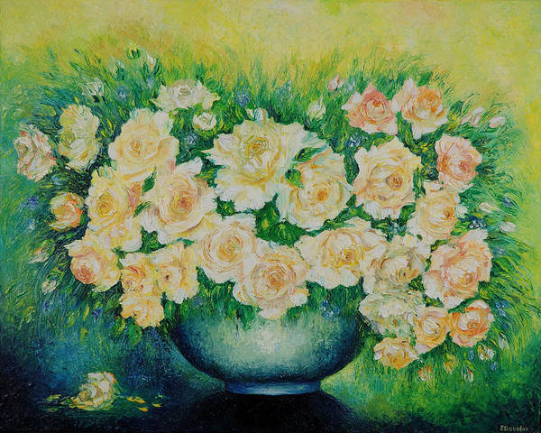 Painting Poster featuring the painting Roses. by Evgenia Davidov