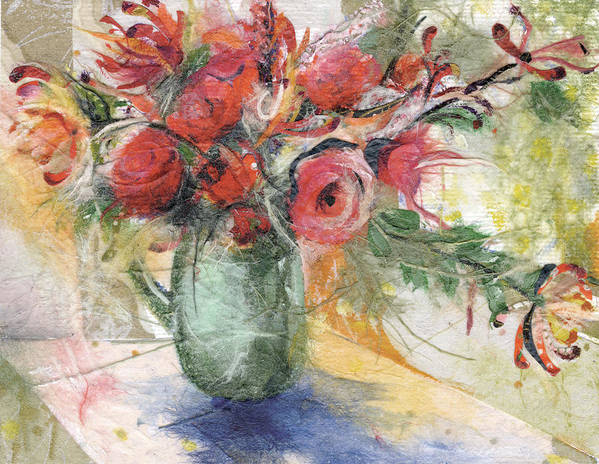 Red Roses Poster featuring the painting Roses by Nira Schwartz