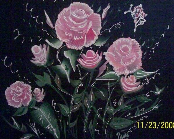 Roses Poster featuring the painting Roses by Paula Ferguson