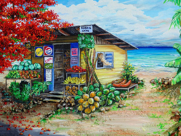 Beach Cafe Poster featuring the painting Rosies Beach Cafe by Karin Dawn Kelshall- Best