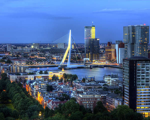 Rotterdam Poster featuring the photograph Rotterdam Skyline with Erasmus Bridge by Shawn Everhart