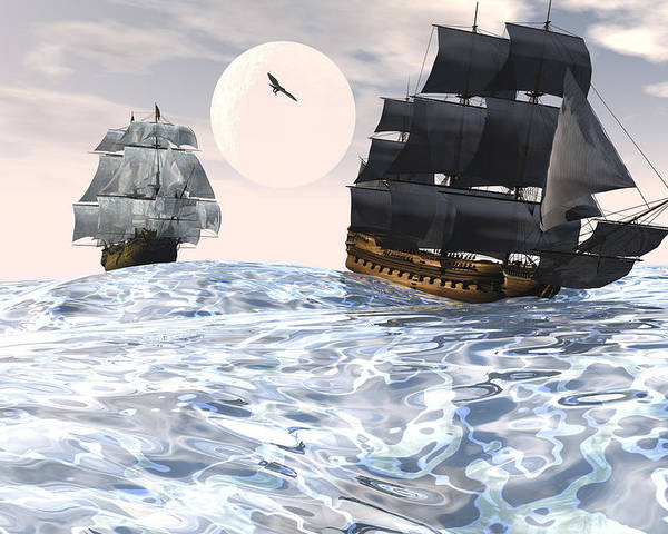 Bryce 3d Scifi Fantasy tall Ship Windjammer \sailing Ship\ Sailing Poster featuring the digital art Rough Seas by Claude McCoy