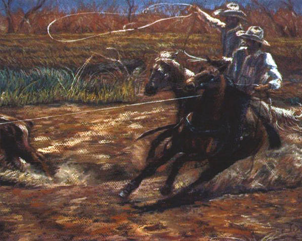 Roping Poster featuring the pastel Round Up by Tommy Winn