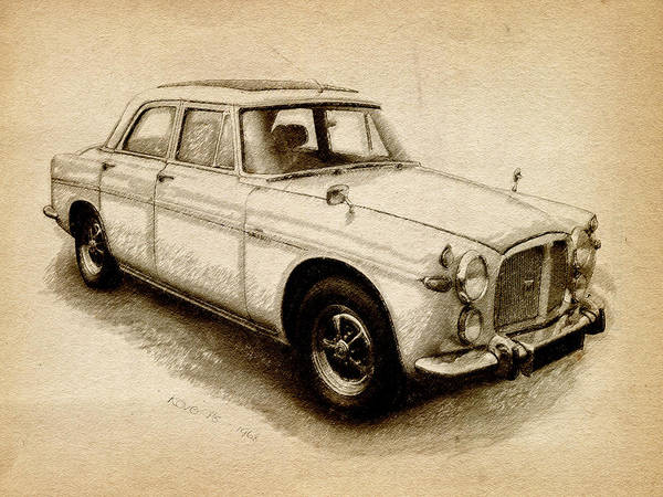 Rover P5 Poster featuring the drawing Rover P5 1968 by Michael Tompsett