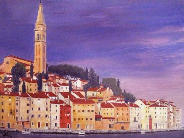 Rovigno Poster featuring the painting Rovinj by Anthony Meton