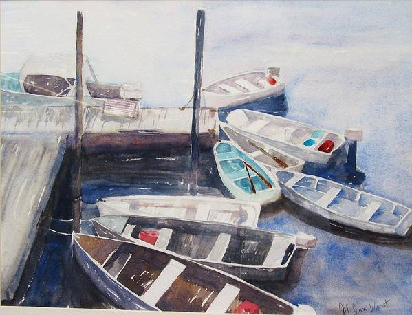 Boats Poster featuring the painting Rowboats by M Jan Wurst