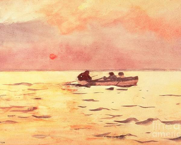 Rowing Home Poster featuring the painting Rowing Home by Winslow Homer