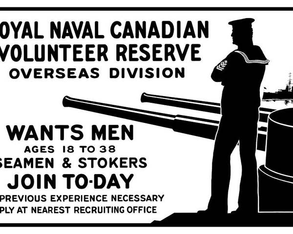 World War One Poster featuring the mixed media Royal Naval Canadian Volunteer Reserve by War Is Hell Store