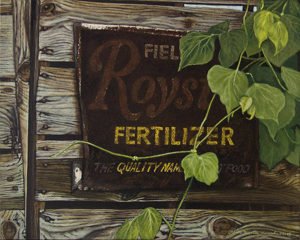 Landscape Poster featuring the painting Royston Fertilizer Sign by Peter Muzyka