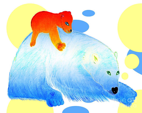 Bears Poster featuring the painting Ruby and Apple by Tess M J Iroldi