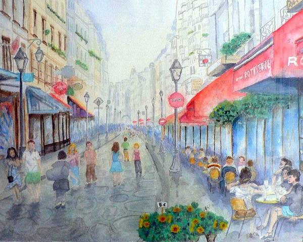 Late Afternoon Streetscape Poster featuring the painting Rue Montorgueil Paris Right Bank by Dan Bozich