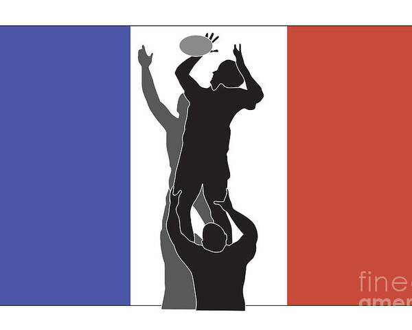 Illustration Poster featuring the digital art Rugby France by Aloysius Patrimonio