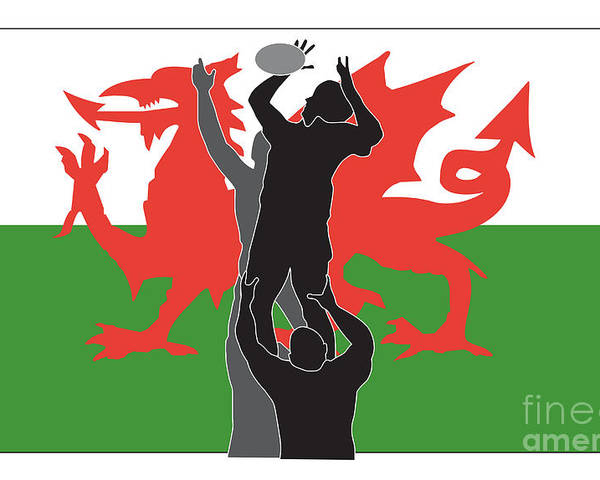 Illustration Poster featuring the digital art Rugby Wales by Aloysius Patrimonio