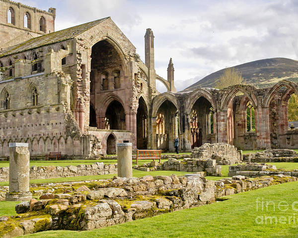 Melrose Abbey Poster featuring the photograph Ruins. Melrose Abbey. by Elena Perelman