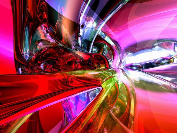 3d Poster featuring the digital art Runaway Color Abstract by Alexander Butler