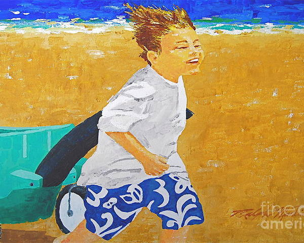 Children Poster featuring the painting Running Against The Wind by Art Mantia