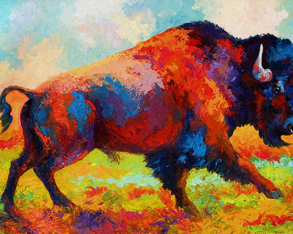 Bison Poster featuring the painting Running Free by Marion Rose