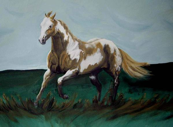 Horse Poster featuring the painting Running Paint by Glenda Smith