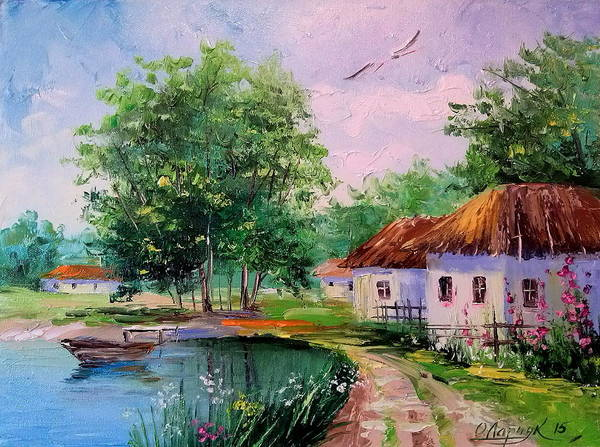 Rural Landscape Poster featuring the painting Rural Landscape by Olha Darchuk