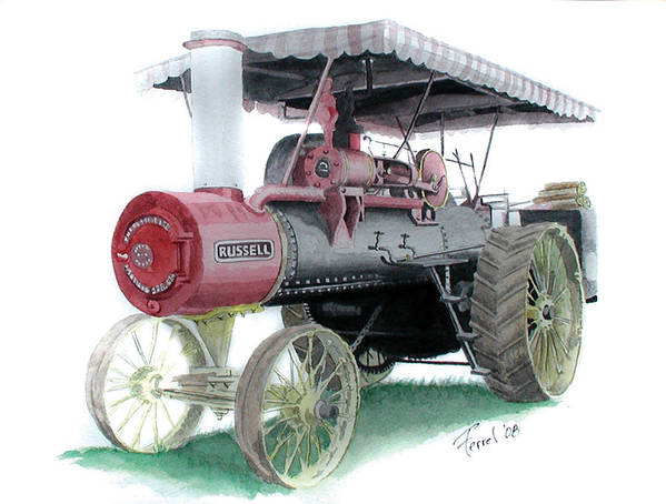 Tractor Poster featuring the painting Russell Steam Tractor by Ferrel Cordle