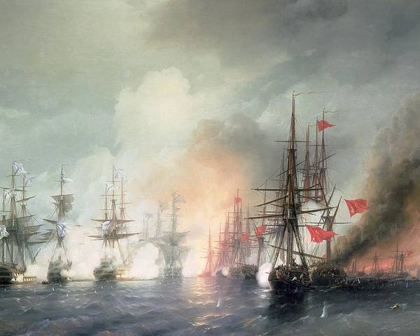 Russian-turkish Poster featuring the painting Russian Turkish Sea Battle Of Sinop by Ivan Konstantinovich Aivazovsky