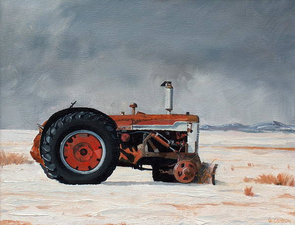 Tractor Poster featuring the painting Rusted sentinel by Greg Clibon