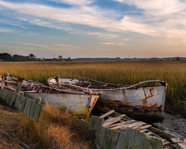 Rust Poster featuring the photograph Rusty Lowcountry Boats by Drew Castelhano