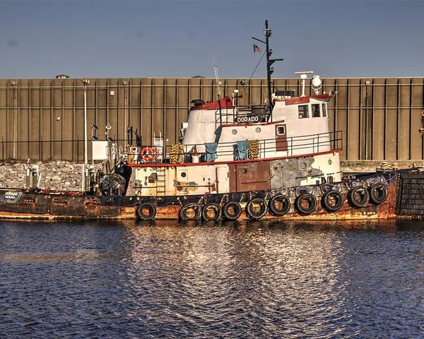 Tugboat Poster featuring the photograph Rusty Old Tug Boat by Paul Lindner