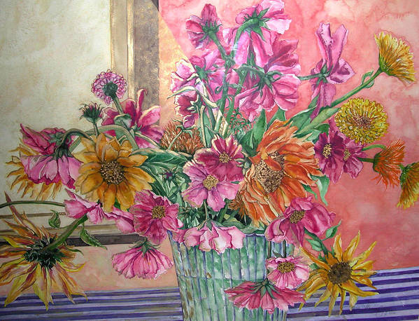 Watercolor Poster featuring the painting Ruth's Bouquet by Caron Sloan Zuger