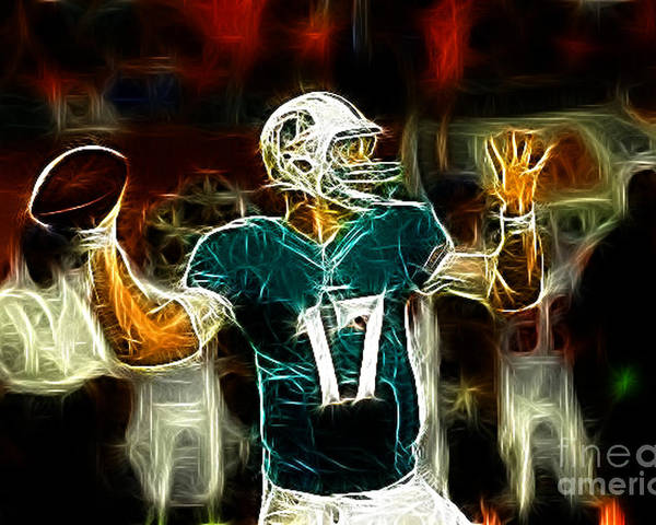 Ryan Tannehill Poster featuring the photograph Ryan Tannehill - Miami Dolphin Quarterback by Paul Ward