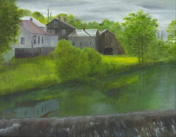 Landscape Poster featuring the painting Sacketts Dam by Laurel Ellis