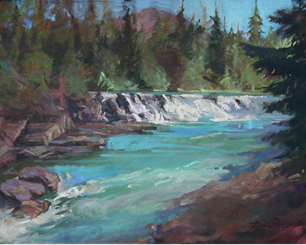 Glacier National Park Poster featuring the painting Sacred Dancing Cascade by Betty Jean Billups