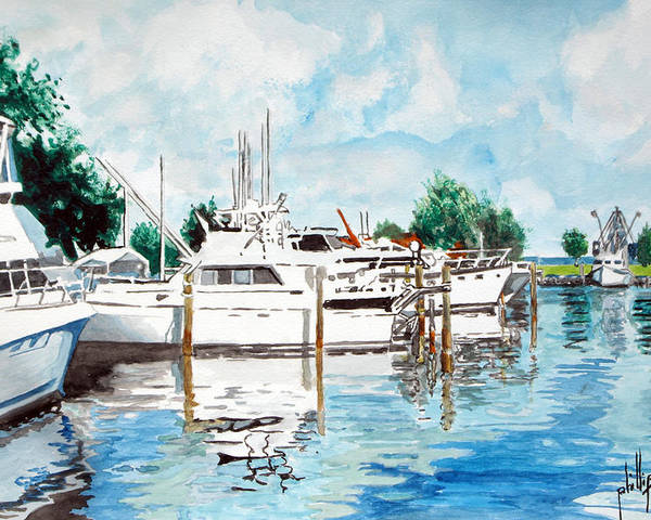 Boats Harbor Coastal Nautical Poster featuring the painting Safe Harbor by Jim Phillips