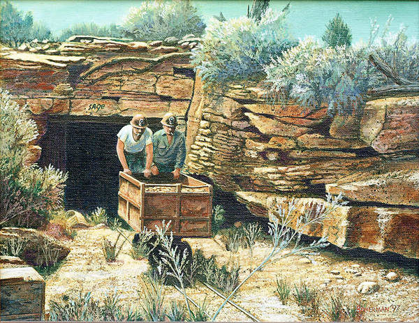 Uranium Mining Poster featuring the painting Sage Mine by Lee Bowerman
