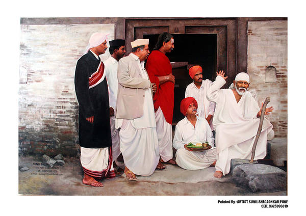 Saibaba Poster featuring the painting Sai With Dengle Patil At Nimgaon by Sunil Shegaonkar