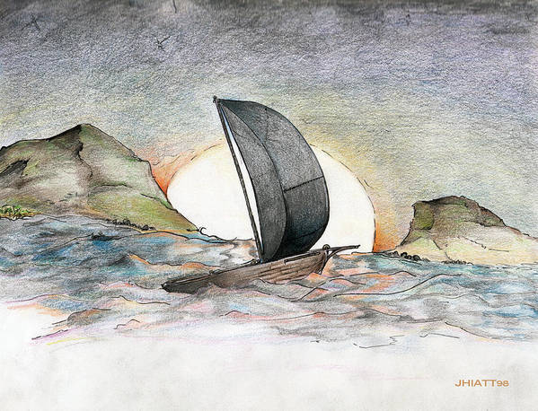 Sail Away Poster featuring the drawing Sail Away by Justin Hiatt