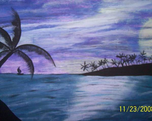 Palm Trees Poster featuring the painting Sail On by Paula Ferguson
