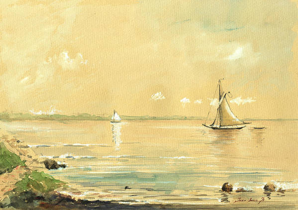 Sail Ship Watercolor Poster featuring the painting Sail Ship Watercolor by Juan Bosco
