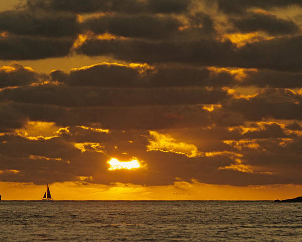 Sil Poster featuring the photograph Sailboat As The Sun Sets by John Harmon