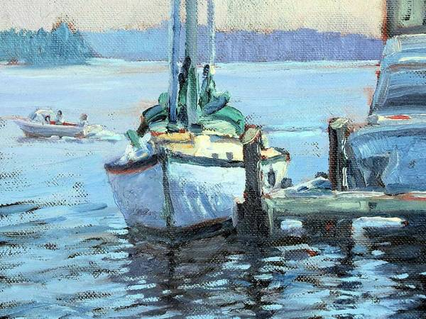 Sailboat Poster featuring the painting Sailboat At Rest by Ken Fiery