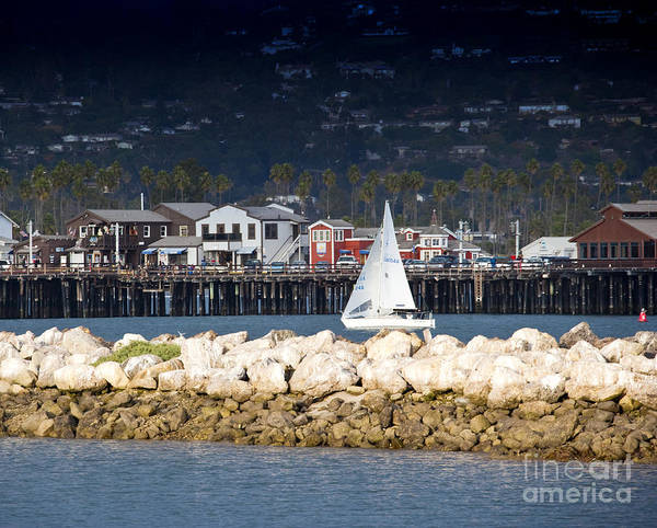 Beach Poster featuring the photograph Sailboat In Harbor by David Buffington