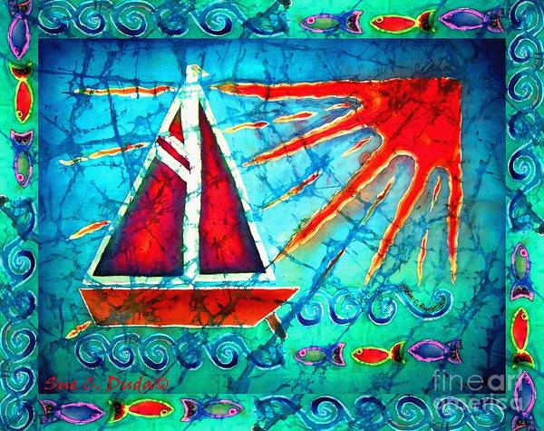 Sailboat Poster featuring the painting Sailboat In The Sun by Sue Duda