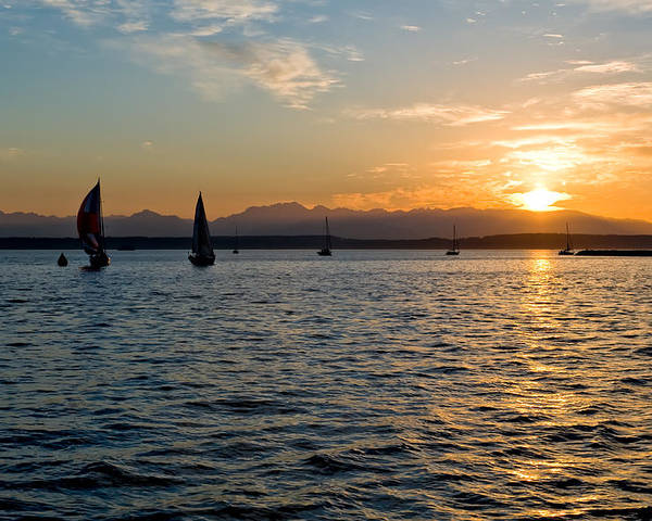 Seattle Poster featuring the photograph Sailboat Sillohette Sunset by Tom Dowd