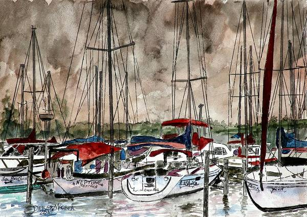 Watercolor Poster featuring the painting Sailboats At Night by Derek Mccrea
